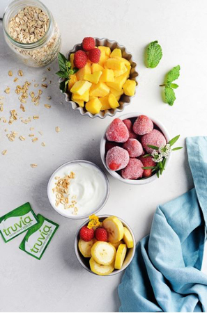 Fruit, yogurt and Truvia.